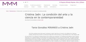 Cristina Jaén La condición del arte y la ciencia en la contemporaneidad Mujeres Mirando Mujeres